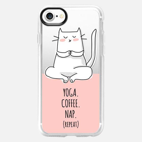 Cat - Yoga Coffee Nap Repeat - Coral Pink -