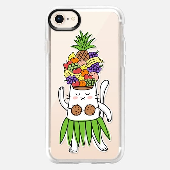Tropical Festive Cat - With Fruit Hat - Fun Funny Colorful - Snap Case