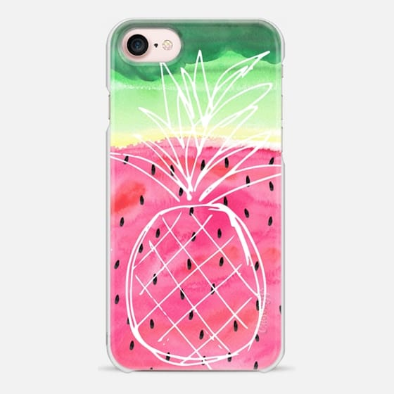 Pineapple Sketch on Watercolor Watermelon - Tropical Fruits - Snap Case