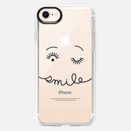 Smile - Simple Minimalist Happy - Black Line - Snap Case
