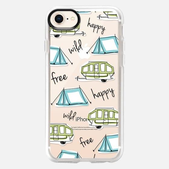 Camper Tent Happy Wild Free - Black Text - Snap Case