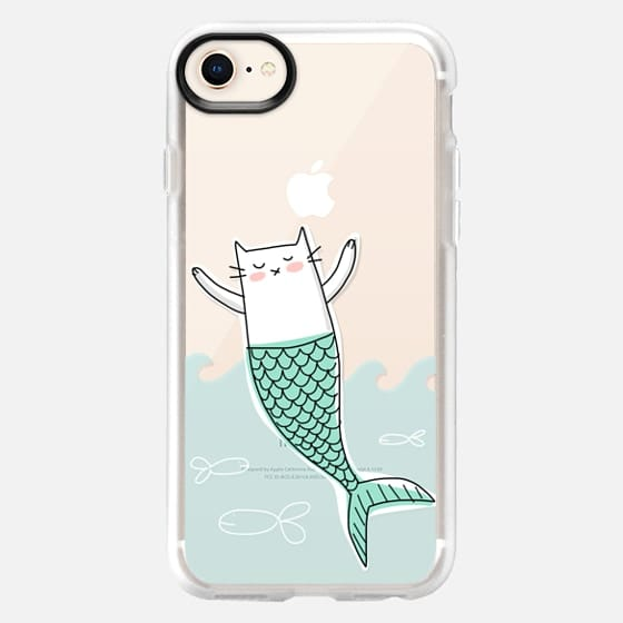 Mermaid Cat with Little Fish - Snap Case