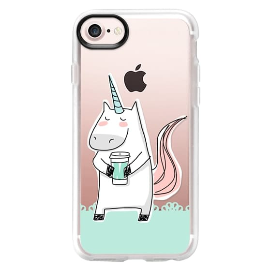 iPhone 7 Cases - Coffee Unicorn - Lace Border - Mint Green