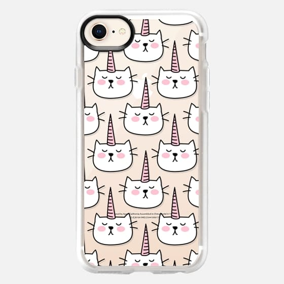 Caticorn Cat Unicorn Pattern - White Pink Black - Transparent - Snap Case
