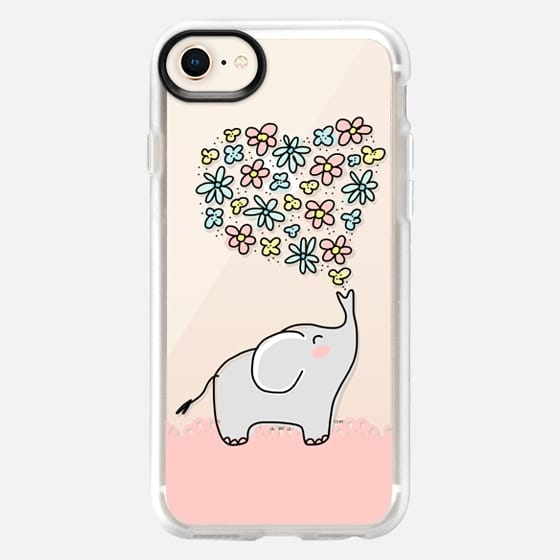 Elephant - Flowers Heart - Floral Love - Pink Lace Border - Snap Case