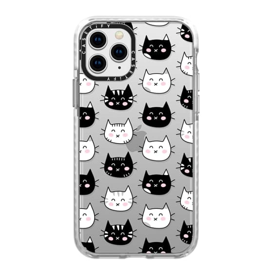 iPhone 11 Pro Cases - Happy Cats - Black and White Cat Pattern - Transparent