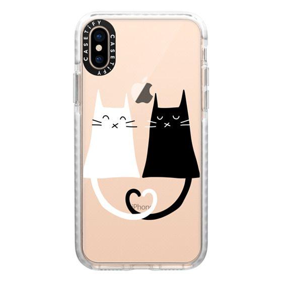 iPhone XS Cases - Cat Love - Heart - Black - White