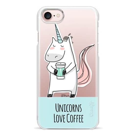 iPhone 7 Cases - Unicorns Love Coffee - Aqua Blue