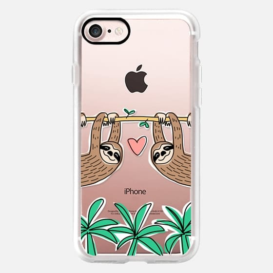 Sloth Couple - Tropical Animal - Love - Pink Heart -