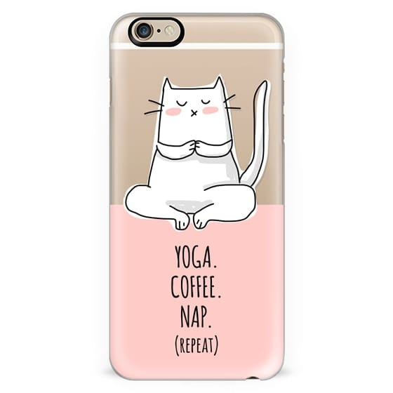 Cat - Yoga Coffee Nap Repeat - Coral Pink