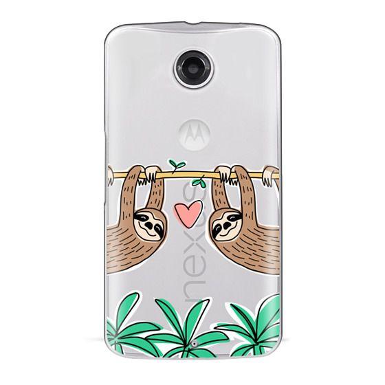 Sloth Couple - Tropical Animal - Love - Pink Heart