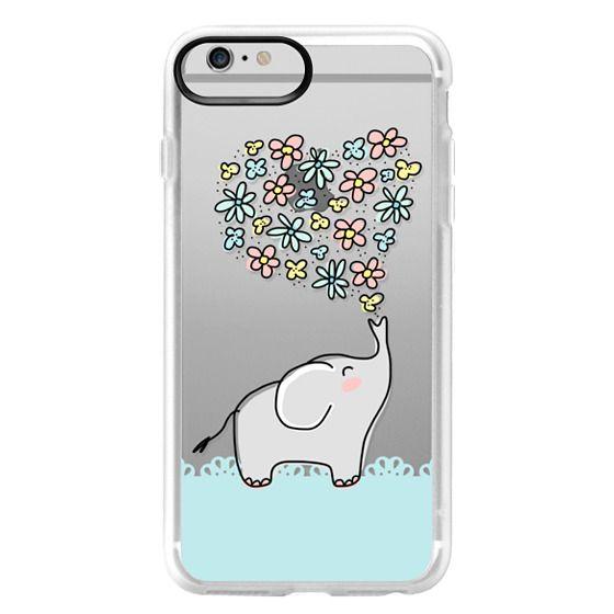 iPhone 6 Plus Cases - Elephant - Flowers Heart - Floral Love - Aqua Teal Blue Lace Border