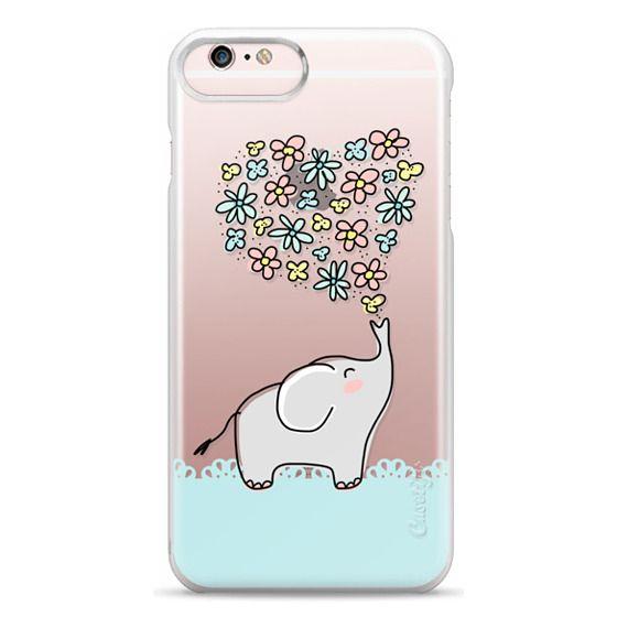 iPhone 6s Plus Cases - Elephant - Flowers Heart - Floral Love - Aqua Teal Blue Lace Border