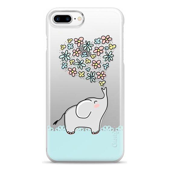 iPhone 7 Plus Cases - Elephant - Flowers Heart - Floral Love - Aqua Teal Blue Lace Border