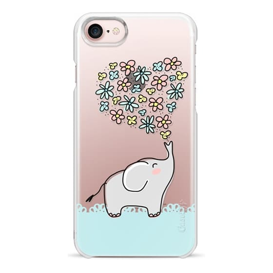 iPhone 7 Cases - Elephant - Flowers Heart - Floral Love - Aqua Teal Blue Lace Border