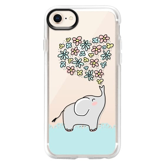 iPhone 8 Cases - Elephant - Flowers Heart - Floral Love - Aqua Teal Blue Lace Border