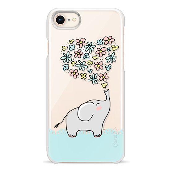 iPhone 8 Cases - Elephant - Flowers Heart - Floral Love - Aqua Teal Blue Lace Border