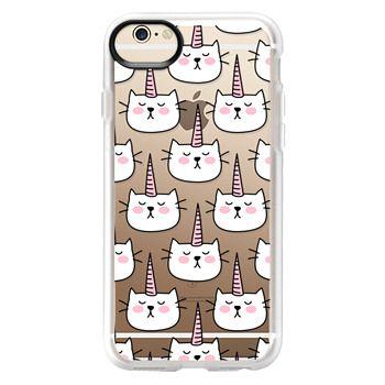 Grip iPhone 6 Case - Caticorn Cat Unicorn Pattern - White Pink Black - Transparent