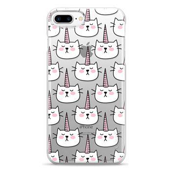 Snap iPhone 7 Plus Case - Caticorn Cat Unicorn Pattern - White Pink Black - Transparent