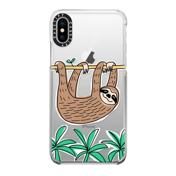 iPhone X Cases - Sloth - Tropical Animal - Palm Tree Leaves