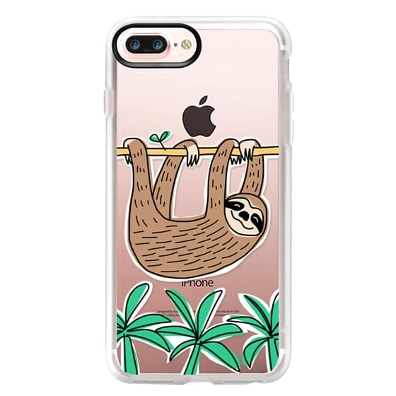 iPhone 7 Plus Cases - Sloth - Tropical Animal - Palm Tree Leaves
