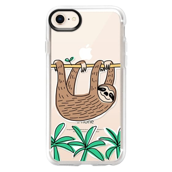 iPhone 8 Cases - Sloth - Tropical Animal - Palm Tree Leaves