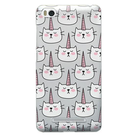 Caticorn Cat Unicorn Pattern - White Pink Black - Transparent