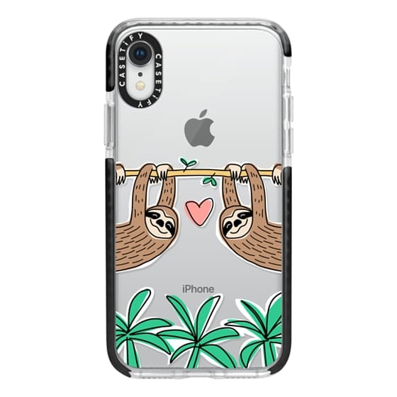 iPhone XR Cases - Sloth Couple - Tropical Animal - Love - Pink Heart