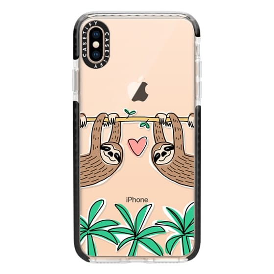 iPhone XS Max Cases - Sloth Couple - Tropical Animal - Love - Pink Heart