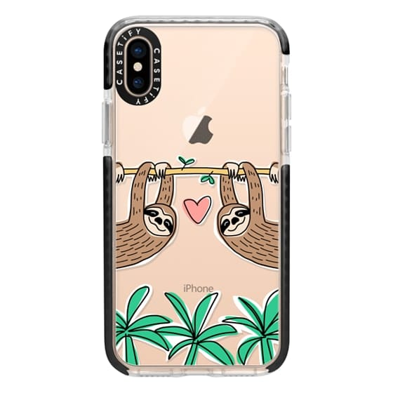iPhone XS Cases - Sloth Couple - Tropical Animal - Love - Pink Heart