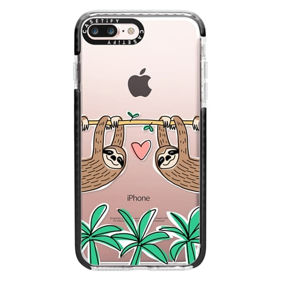 iPhone 7 Plus Cases - Sloth Couple - Tropical Animal - Love - Pink Heart