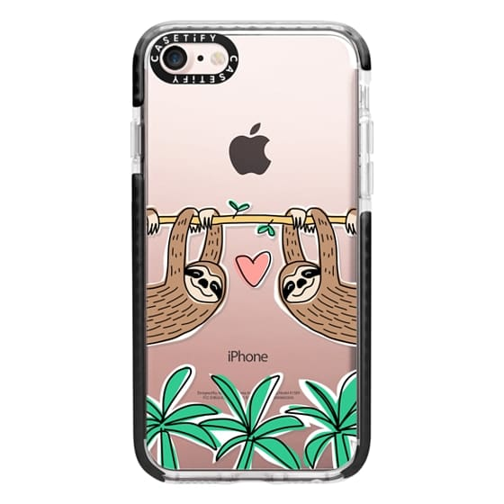 iPhone 7 Cases - Sloth Couple - Tropical Animal - Love - Pink Heart