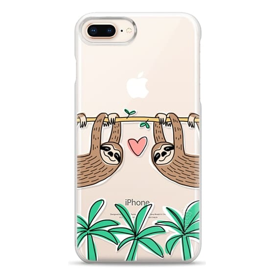 iPhone 8 Plus Cases - Sloth Couple - Tropical Animal - Love - Pink Heart