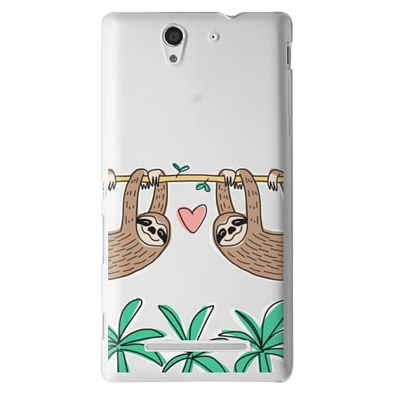Sony C3 Cases - Sloth Couple - Tropical Animal - Love - Pink Heart