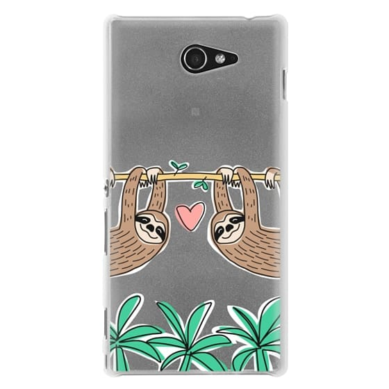 Sony M2 Cases - Sloth Couple - Tropical Animal - Love - Pink Heart