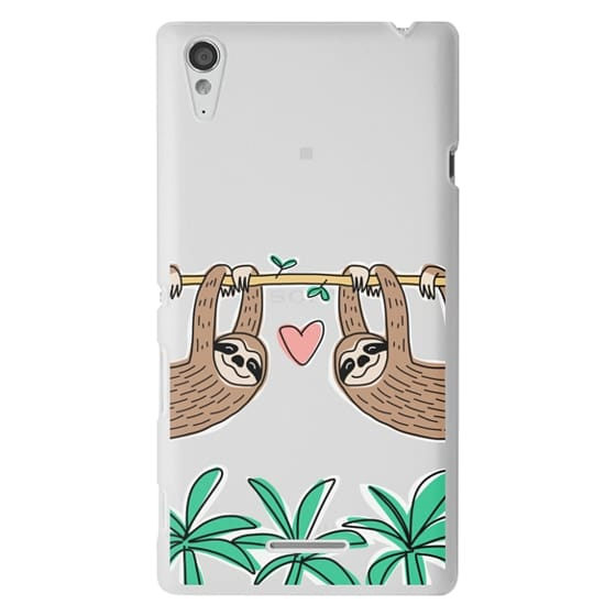Sony T3 Cases - Sloth Couple - Tropical Animal - Love - Pink Heart