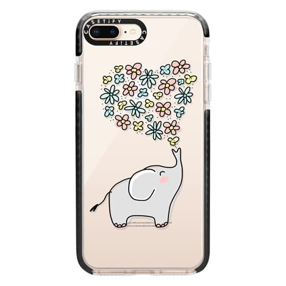 iPhone 8 Plus Cases - Elephant - Flowers Heart - Floral Love