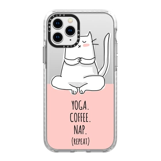 iPhone 11 Pro Cases - Cat - Yoga Coffee Nap Repeat - Coral Pink