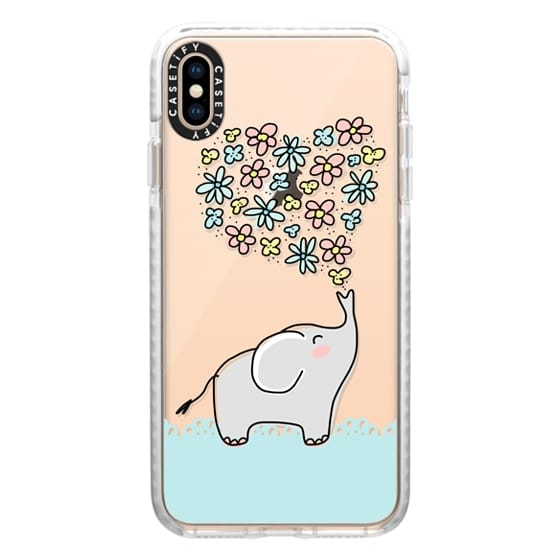 iPhone XS Max Cases - Elephant - Flowers Heart - Floral Love - Aqua Teal Blue Lace Border