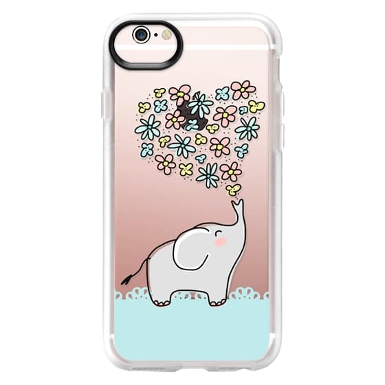 iPhone 6s Cases - Elephant - Flowers Heart - Floral Love - Aqua Teal Blue Lace Border