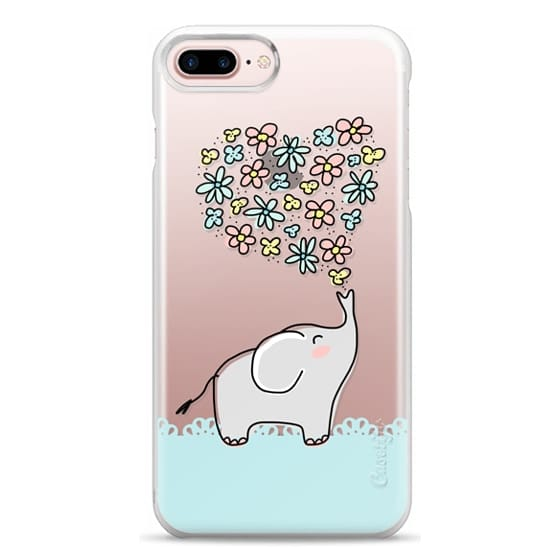 iPhone 7 Plus Cases - Elephant - Flowers Heart - Floral Love - Aqua Teal Blue Lace Border