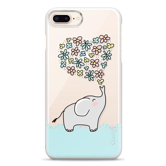 iPhone 8 Plus Cases - Elephant - Flowers Heart - Floral Love - Aqua Teal Blue Lace Border