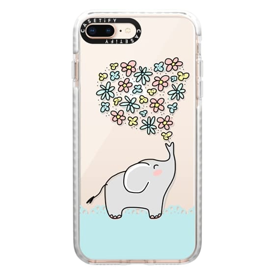 iPhone 8 Plus Cases - Elephant - Flowers Heart - Floral Love - Aqua Teal Blue Lace Border