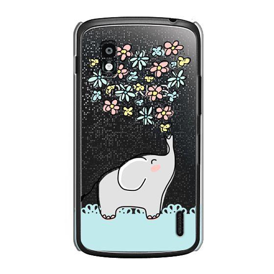 Nexus 4 Cases - Elephant - Flowers Heart - Floral Love - Aqua Teal Blue Lace Border