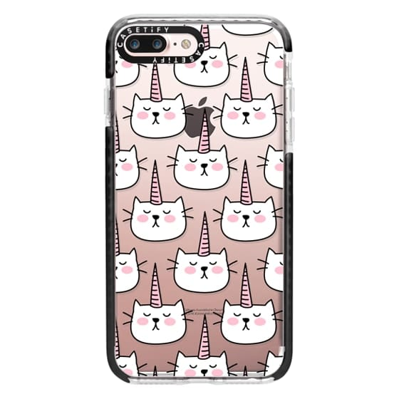 iPhone 7 Plus Cases - Caticorn Cat Unicorn Pattern - White Pink Black - Transparent