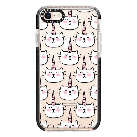 iPhone 8 Cases - Caticorn Cat Unicorn Pattern - White Pink Black - Transparent