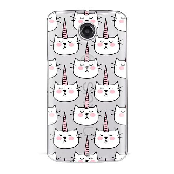 Nexus 6 Cases - Caticorn Cat Unicorn Pattern - White Pink Black - Transparent