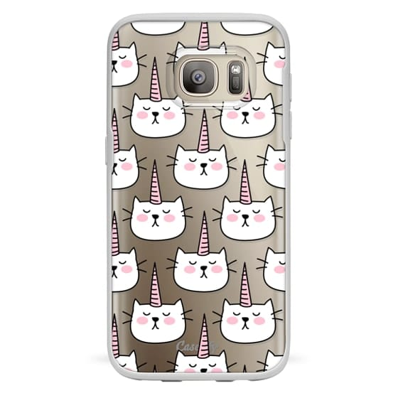 Samsung Galaxy S7 Cases - Caticorn Cat Unicorn Pattern - White Pink Black - Transparent