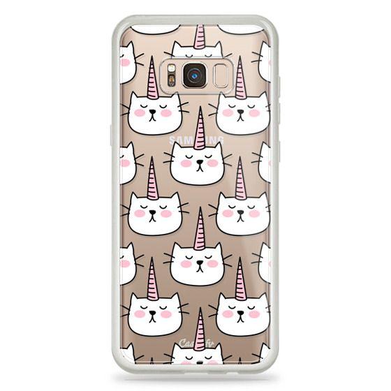 Samsung Galaxy S8 Plus Cases - Caticorn Cat Unicorn Pattern - White Pink Black - Transparent