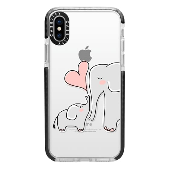 iPhone X Cases - Mom and Baby Elephant Love - Pink Heart